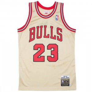 Mitchell And Ness Men Chicago Bulls Michael Jordan Gold Jersey - 23 (gold / red)