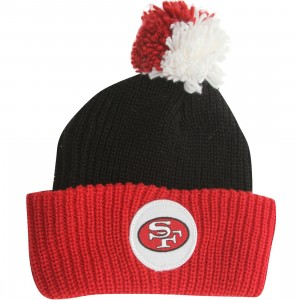 Mitchell And Ness San Francisco 49ers Retro Cuffed Pom Knit Beanie (black / red)