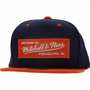 Mitchell And Ness Retro Logo Snapback Cap (navy / orange)