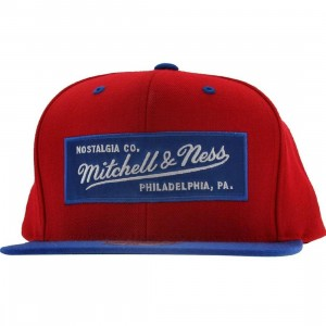 Mitchell And Ness Retro Logo Snapback Cap (red / royal)