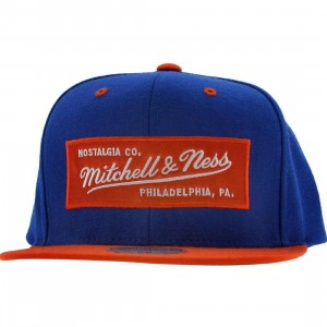 Mitchell And Ness Retro Logo Snapback Cap (royal / orange)