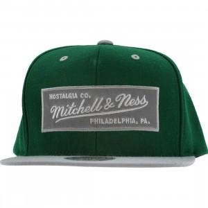 Mitchell And Ness Retro Logo Snapback Cap (kelly / ash)