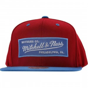 Mitchell And Ness Retro Logo Snapback Cap (cardinal / light navy)