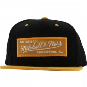Mitchell And Ness Retro Logo Snapback Cap (black / gold)