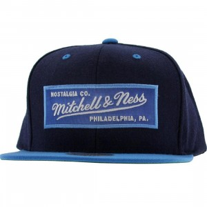 Mitchell And Ness Retro Logo Snapback Cap (navy / light blue)