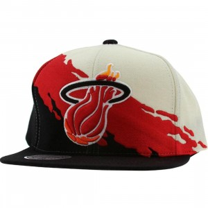 Mitchell And Ness Miami Heat NBA Paintbrush Wool Snapback Cap (white / red / black)