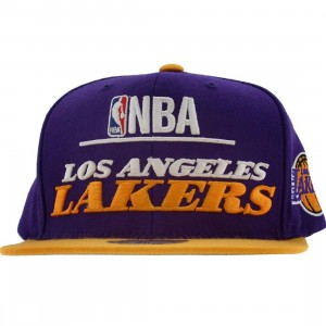 Mitchell And Ness Los Angeles Lakers NBA Media Day Wool Snapback Cap (purple / yellow)