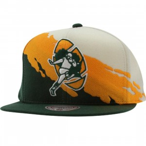 Mitchell And Ness Green Bay Packers NFL Paintbrush Wool Snapback Cap (white / yellow / green)