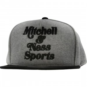 Mitchell And Ness Branded Heather Fleece Snapback Cap (grey / black)