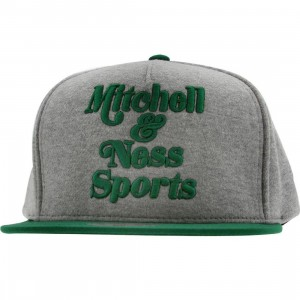 Mitchell And Ness Branded Heather Fleece Snapback Cap (grey / kelly)