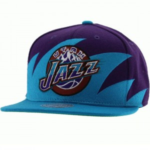 Mitchell And Ness Utah Jazz Sharktooth Wool Snapback Cap (purple / teal)