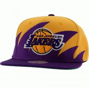 Mitchell And Ness Los Angeles Lakers Sharktooth Wool Snapback Cap (yellow / purple)
