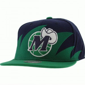 Mitchell And Ness Dallas Mavericks Sharktooth Wool Snapback Cap (navy / green)