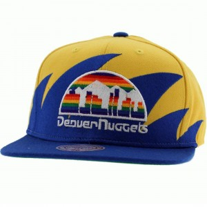 Mitchell And Ness Denver Nuggets Sharktooth Wool Snapback Cap (yellow / blue)