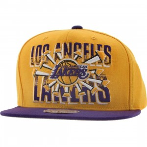 Mitchell And Ness Los Angeles Lakers Backboard Breaker Snapback Cap (gold / purple)