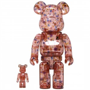 Medicom Anrealage Red Clear Ver. 100% 400% Bearbrick Figure Set (red)