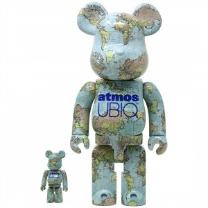 Medicom Atmos Ubiq 100% 400% Bearbrick Figure Set (blue)