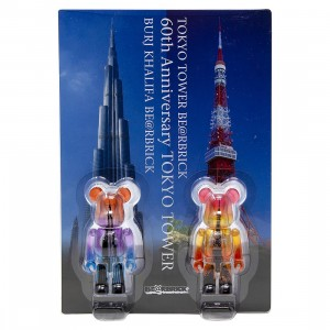 Medicom Burj Khalifa And Tokyo Tower 100% Bearbrick Twin Tower Pack Figures (purple / orange)