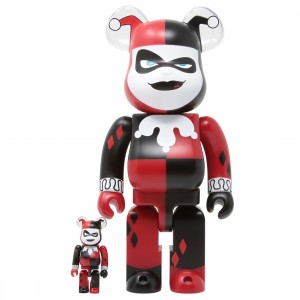 Medicom DC Batman The Animated Series Harley Quinn 100% 400% Bearbrick Figure Set (red)
