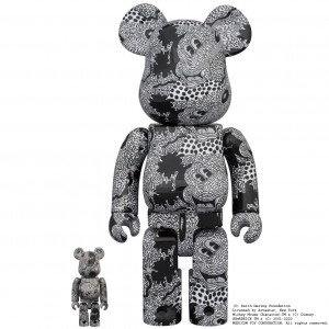 PREORDER - MEDICOM TOY x Disney x Keith Haring Mickey Mouse 100% 400% Bearbrick Figure Set (black)