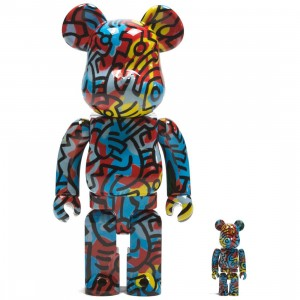 Medicom Keith Haring DesignerCon Exclusive 100% 400% Bearbrick Figure Set (mutli)