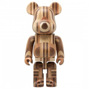 Medicom Karimoku Yosegi 400% Bearbrick Figure (brown)