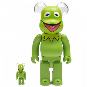 Medicom Meet the Muppets Kermit The Frog 100% 400% Bearbrick Figure Set (green)