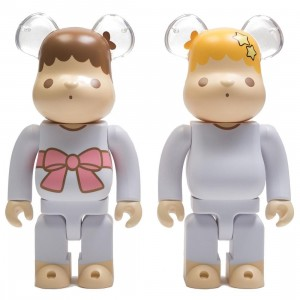 Medicom Little Twin Stars Kiki And Lala Retro Color Ver. 400% Bearbrick Figure 2 Pack Set (white)