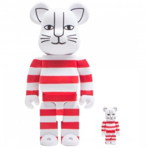 Medicom x Lisa Larson Mikey Flocky Ver. 100% 400% Bearbrick Figure Set (red)