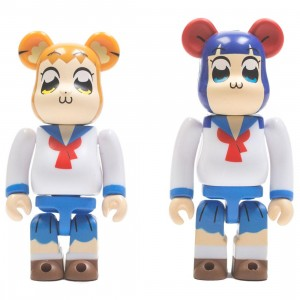 Medicom Pop Team Epic 100% 2 Pack Bearbrick Figure Set (white)
