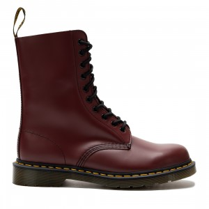 Dr. Martens Men 1490 Smooth Leather Mid Calf Boots (red / cherry red smooth leather)