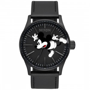 Nixon x Disney Sentry Leather Watch - Mickey Fall (black / all black)