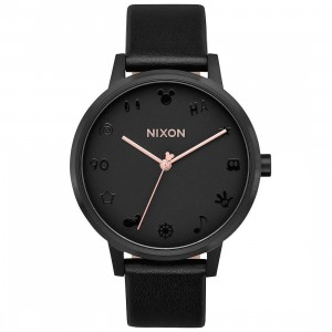Nixon x Disney Kensington Leather Watch - Essential Elements (black / pink)