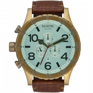 Nixon 51-30 Chrono Leather Watch (brown / brass / green)