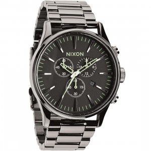 Nixon Sentry Chrono Watch (silver / polished gunmetal / lum)