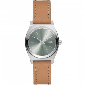 Nixon Small Time Teller Leather Watch (brown / saddle)