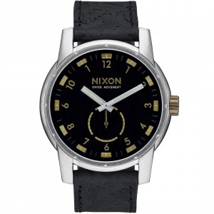 Nixon Patriot Leather Watch (black / brass)