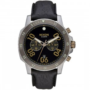 Nixon Ranger Chrono Leather Watch (black / brass)