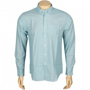 Obey Crossline Woven Long Sleeve Shirt (blue)