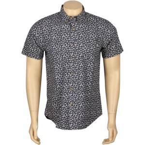 Obey Nouveau Woven Short Sleeve Shirt (navy / indigo)