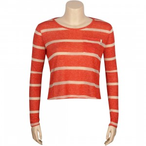 Obey Women Sloan Crew Knit Top (orange / spicy orange)