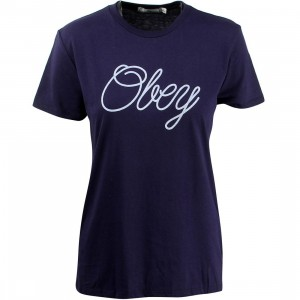 Obey Women Make Due Script Tee (blue / evening)