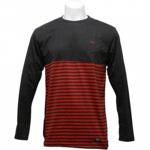 Orisue Benton Long Sleeve Knit Tee (black / red)