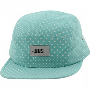Publish Silas Polka Dot 5 Panel Camper Adjustable Cap (teal / mint)