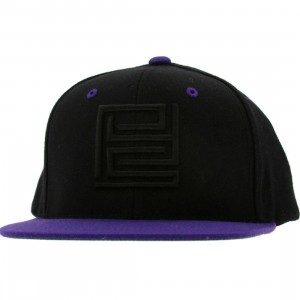 PYS Block Logo Snapback Caps - Black (black / purple)