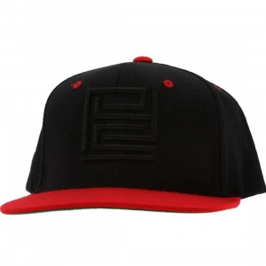 PYS Block Logo Snapback Caps - Black (black / red)