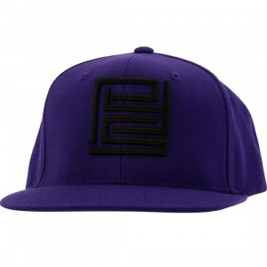 PYS Block Logo Snapback Caps - Black (purple)