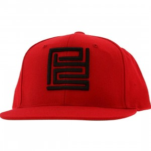PYS Block Logo Snapback Caps - Black (red)