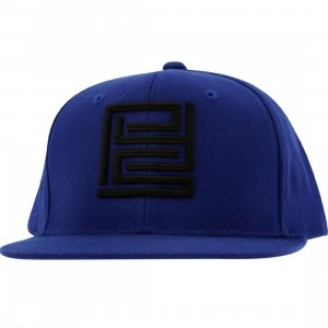 PYS Block Logo Snapback Caps - Black (royal blue)