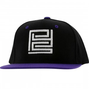 PYS Block Logo Snapback Caps - White (black / purple)